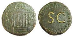 Ancient Coins - Tiberius. 14-37 AD. Æ Sestertius, Temple of Concord, Rare.