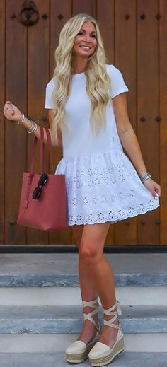 #summer #outfits  I Love Wearing White At The Beach! And These Espadrilles Are As Comfy As They Are Cute! They Complete This Fun, Summery Outfit!!