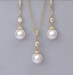 Gold Jewelry set Pearl Bridal Jewelry Set by JamBridalAccessories