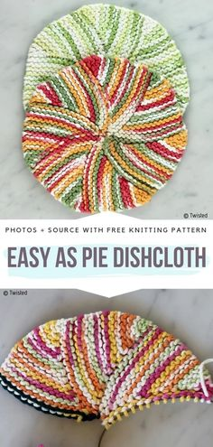 Circular Knitted Dishcloths Free Patterns - Free Crochet Patterns Easy as Pie Dishcloth Free Knitting Pattern Knitted Washcloth Patterns, Knitted Washcloths, Dishcloth Knitting Patterns, Crochet Dishcloths, Circular Knitting Patterns, Stitch Patterns, Afghan Patterns, Crochet Afghans, Embroidery