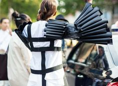 Details are everything in this leather sleeved harness. // Photo: The Styleograph #Streetstyle #PFW