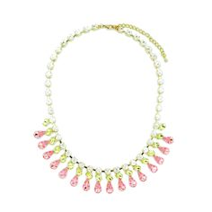 """PINK EVENING NECKLACE  $ 24.99  LOBSTER FINISHED SIZE: 17"""" + 3"""" EXTENSION MATERIAL: PLATED BASE METAL, CRYSTAL COLOR: GOLD. LIGHT PINK MIXED"""