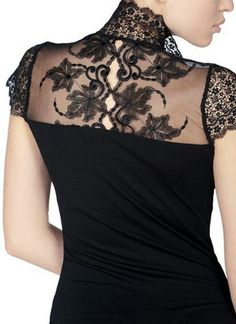Lace Blouse- Oh my gosh I love it. So cute with a black tshirt under it Moda Fashion, Womens Fashion, Black Lace Blouse, Cute Tops, Pretty Outfits, What To Wear, Style Inspiration, Fashion Outfits, Clothes For Women