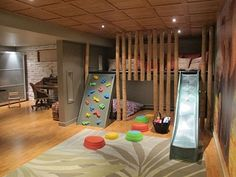 Basement Kids& Playroom Ideas And Design- Keller Kinder' Spielzimmer Ideen Und Design Basements Kids& Playroom Ideas And Design # - Indoor Jungle Gym, Indoor Playroom, Indoor Playhouse, Playroom Slide, Garage Playroom, Playhouse Bed, Kids Basement, Basement Play Area, Unfinished Basement Playroom