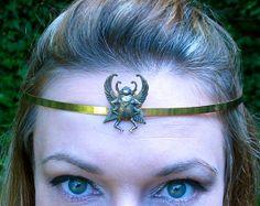 Antiqued Brass Scarab Circlet by SpiritoftheGoddess on Etsy, $39.00