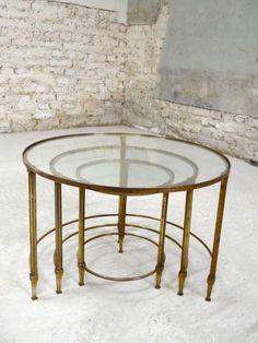 French Brass U0026 Glass Nesting Tables, 1960s For Sale At Pamono
