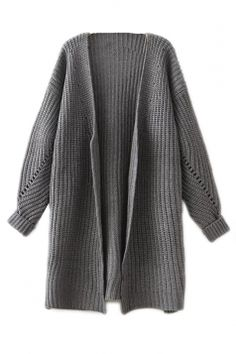fc4e96f2ad9d0 Melodicday offers Gray Oversized Womesn Knitted Slit Thick Plain Cardigan  Sweater   more to fit your fashionable needs.