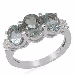 Natural Aquamarine 925 Sterling Silver Three Stone Ring Christmas Gift Jewelry #Unbranded #ThreeStone #Christmas