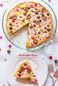 Loaded Soft and Chewy M&M Cookie Pie