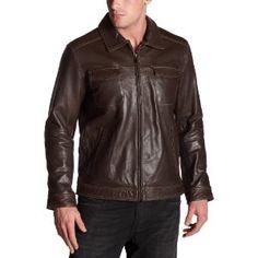 Perry Ellis Portfolio Men's Leather Patch Pocket Jacket,Milk Chocolate,Medium (Apparel)