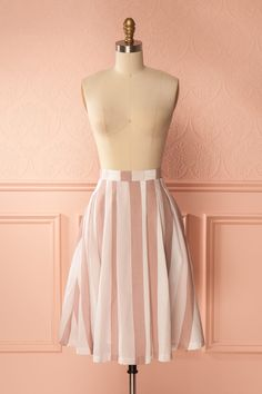 Beniko Blush & White Striped A-Line Midi Skirt | Boutique 1861