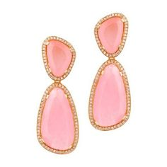 Christina Debs Hard Candy Pink Jade And Pink Diamond Earrings ($7,267) ❤ liked on Polyvore featuring jewelry, earrings, diamond earrings, pink diamond earrings, earring jewelry, diamond jewellery and jade jewelry