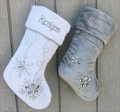 Personalized Christmas Stockings Silver White Velvet by eugenie2