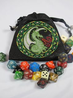 Wicked Dragon Bag of Holding Dice Bag by oneandonlycouture Dragon Dies, Nerd Crafts, Dice Bag, Celtic Dragon, Craft Bags, Machine Embroidery Patterns, Tabletop Games, Unusual Gifts, Magic The Gathering
