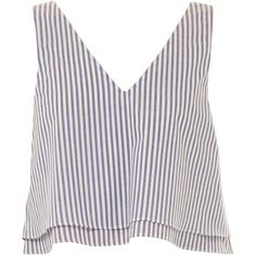 Apiece Apart V-Neck Hydra Tank featuring polyvore, fashion, clothing, tops, crop tops, shirts, tank tops, stripe, white striped shirt, white tank, white v neck shirt, white cotton tank top and white shirt