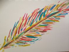 Abstract Colorful Feather Watercolor Painting Small by ArtByOnny