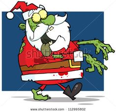 Santa Claus Zombie Walking With Hands In Front