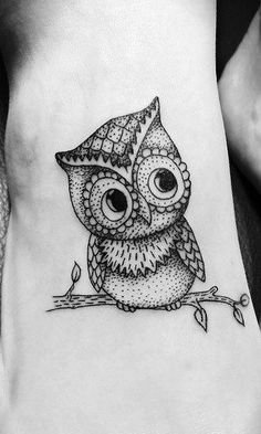 Dotwork Black Ink Owl On Branch Tattoo On Right Foot