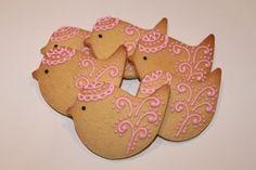 Pink bird cookies by Miss Biscuit.