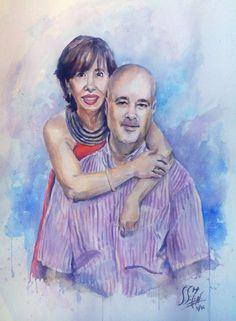 Retrato pareja. 2016 Acuarela 50x70cms Alexandra Sánchez Moreno