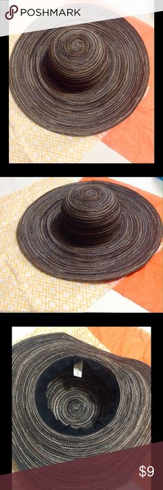 Floppy Summer Hat Only worn once. Interesting mix of black, brown, tan, cream. One size fits most. 100% polyester. 16X16. *No trades, price firm. Accessories Hats