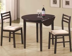 "Coaster 3 Piece Dining Set Cappuccino Coaster Home Furnishings   **Includes 1 Table & 2 Chairs** **Table 35"" L x 35"" W x 29.25"" H** **Chair 16.25"" L x 16.5"" W x 35.75"" H** **Style Casual** **Finish Cappuccino**"