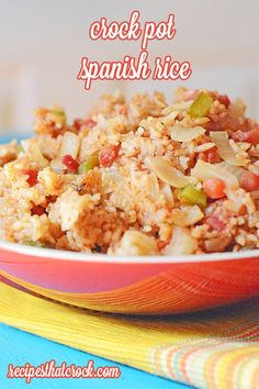 Crock Pot Spanish Rice- Tastes just like the restaurant rice! #CrockPot #RedGoldRecipes #RGParty