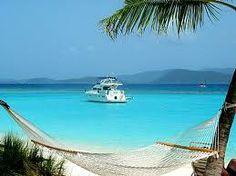 Lounging on the beach and enjoying the view from Soggy Dollar Beach Bar on Jost Van Dyke, British Virgin Islands. Ahhhhh....