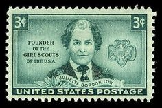 On October 29, 1948, a postage stamp was issued to honor Juliette Gordon Low, the founder of the Girl Scouts organization. Juliette Daisy Gordon Low was born into a prominent Savannah, Georgia family in 1860.