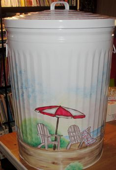 Painted Beach Metal Trash Can Painted Trash Cans, Painted Milk Cans, Paint Cans, Painted Chairs, Painted Furniture, Handmade Crafts, Diy Crafts, Painted Mailboxes, Deck Decorating