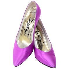 7ab0c21dd9c3e6 Purple Satin Ysl Yves Saint Laurent Vintage Pumps 1990s Shoes W  3