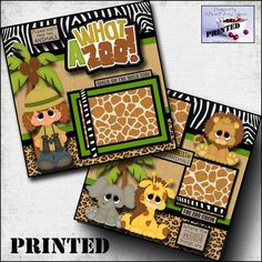 WHAT A ZOO ~ girl 2 premade scrapbook pages paper piecing layout album CHERRY Scrapbook Box, Paper Bag Scrapbook, Baby Scrapbook Pages, Disney Scrapbook, Scrapbook Page Layouts, Scrapbook Supplies, Scrapbooking Ideas, Vacation Scrapbook, Scrapbook Organization