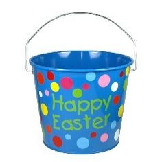 This cute Blue Party Time Dots 5 qt pail can be used for virtually anything from an Easter Egg hunt to holding all the goodies from the Easter Bunny.