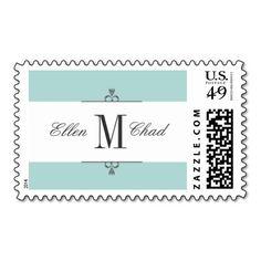 Aqua Monogram Wedding Stamps