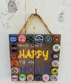 Hand painted bar sign - reclaimed wood sign - beer sign - unique mixed bottle caps -rustic decor - father's day gift by RecycliciousByBrandy on Etsy Beer Bottle Crafts, Beer Cap Crafts, Bottle Cap Projects, Crafts With Bottle Caps, Beer Cap Art, Corona Bottle, Corona Beer, Paint Bar, Reclaimed Wood Signs