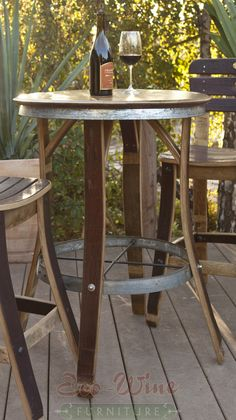 Wine Barrel Furniture Table #DuVino #wine www.vinoduvino.com