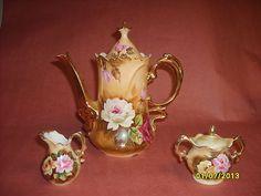 RARE Vintage Lefton China Tea Pot Set Creamer and Suger Coffee Art Glass