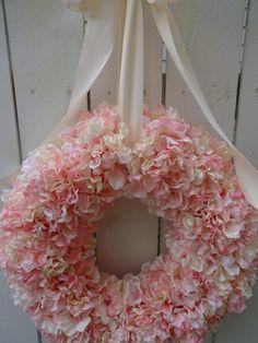 Pink Wreath, Twig Wreath, Hydrangea Wreath, Pink Hydrangea, Hydrangeas, Mesh Wreaths, Pink Dogwood, Tulle Wreath, Floral Wreaths