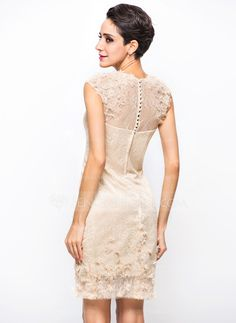 Sheath/Column Scoop Neck Knee-Length Satin Tulle Lace Cocktail Dress With Beading Flower(s) (016055955)