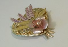 Aluminum Vintage Pastel Pin Brooch with pink by VintageInspiredNow
