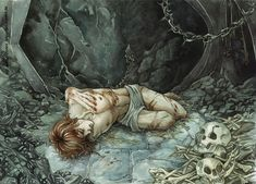 Black despairby =Gold-Seven Maedhros, captured by Morgoth, wondering what further fate awaits him. Or possibly beyond caring at this point. :( - From J. R. R. Tolkien's Silmarillion.