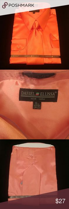 MENS DRESS SHIRT CORAL COMBO PACK BY DANIEL ELLISS Combination shirt, tie, pocket square. Regular fit. Brand:DANIEL ELLISSA Style:DS3012 NP2 Coral Material:100% polyester satin rayon New in the bag      This shirt can be SPECIAL ORDERED in your size through Poshmark. Email me @shirtman48 for details. DANIEL ELLISSA Shirts Dress Shirts