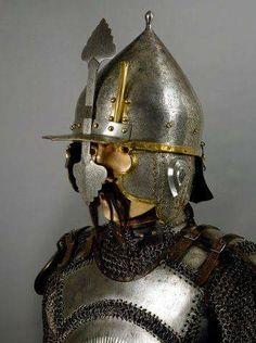 Ottoman chichak type helmet with krug (chest armor), century. Medieval Helmets, Medieval Armor, Turkish Army, Turkish Military, Types Of Armor, Ancient Armor, Armor Clothing, Arm Armor, Dark Ages