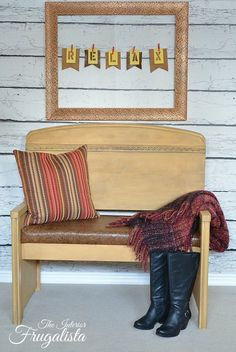 a recycled twin headboard with an embossed leather hide seat, diy, painted furniture, rustic furniture, tools, woodworking projects