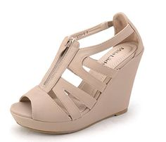 5b3c776ad10 Mila Lady Lisa 5 Strappy Open Toe Platform Wedges Heeled Sandals Shoes for  Women Nude 11