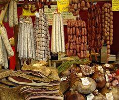 Italian food markets: your choice of hard salami #travel