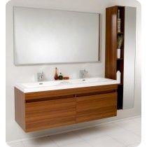 Contemporary Art Sites Fresca FVNTK Largo Teak Modern Bathroom Vanity w Wavy Double Sinks