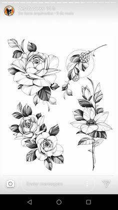 Rose Tattoos, Flower Tattoos, Body Art Tattoos, Girl Tattoos, Flower Tattoo Designs, Flower Designs, Tattoo Sketches, Tattoo Drawings, Dog Pencil Drawing
