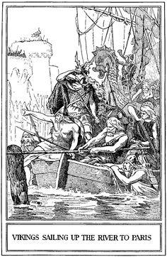 vikings sailing up the river to paris