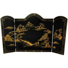 Lacquer Fireplace Screen ($230) ❤ liked on Polyvore featuring home, home decor, fireplace accessories, fireplace, black home decor, asian screens, fireplace screens and asian home decor